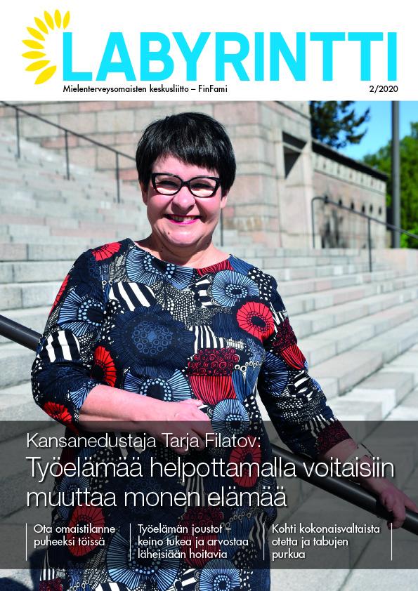 Labyrintti 2/2020 kansi kuvassa Tarja Filatov_kuva Marika Finne