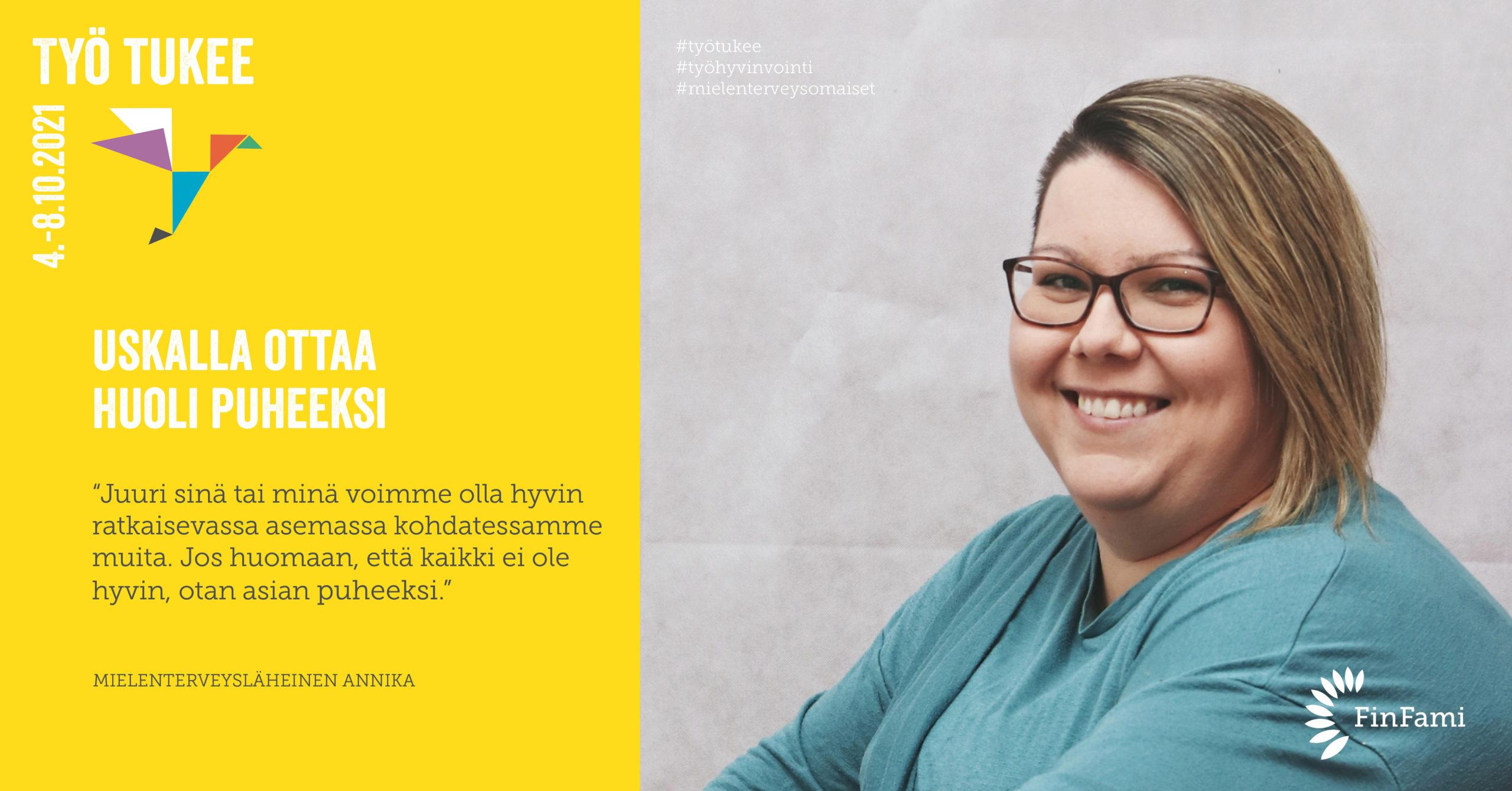FinFamin Työ tukee -kampanjakuva Huoli puheeksi