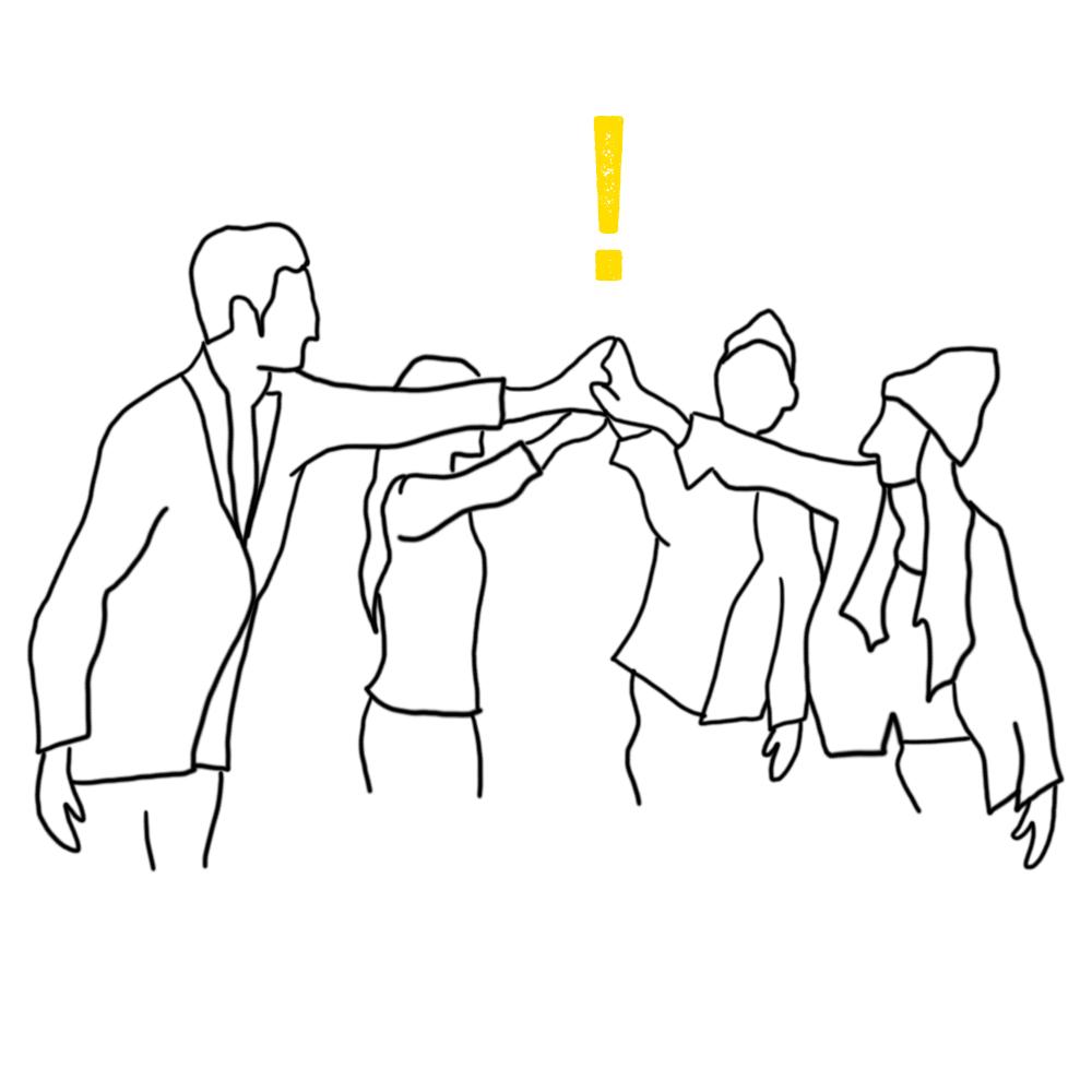 Piirroskuva erilaisista ihmisistä lyömässä kätensä yhteen.