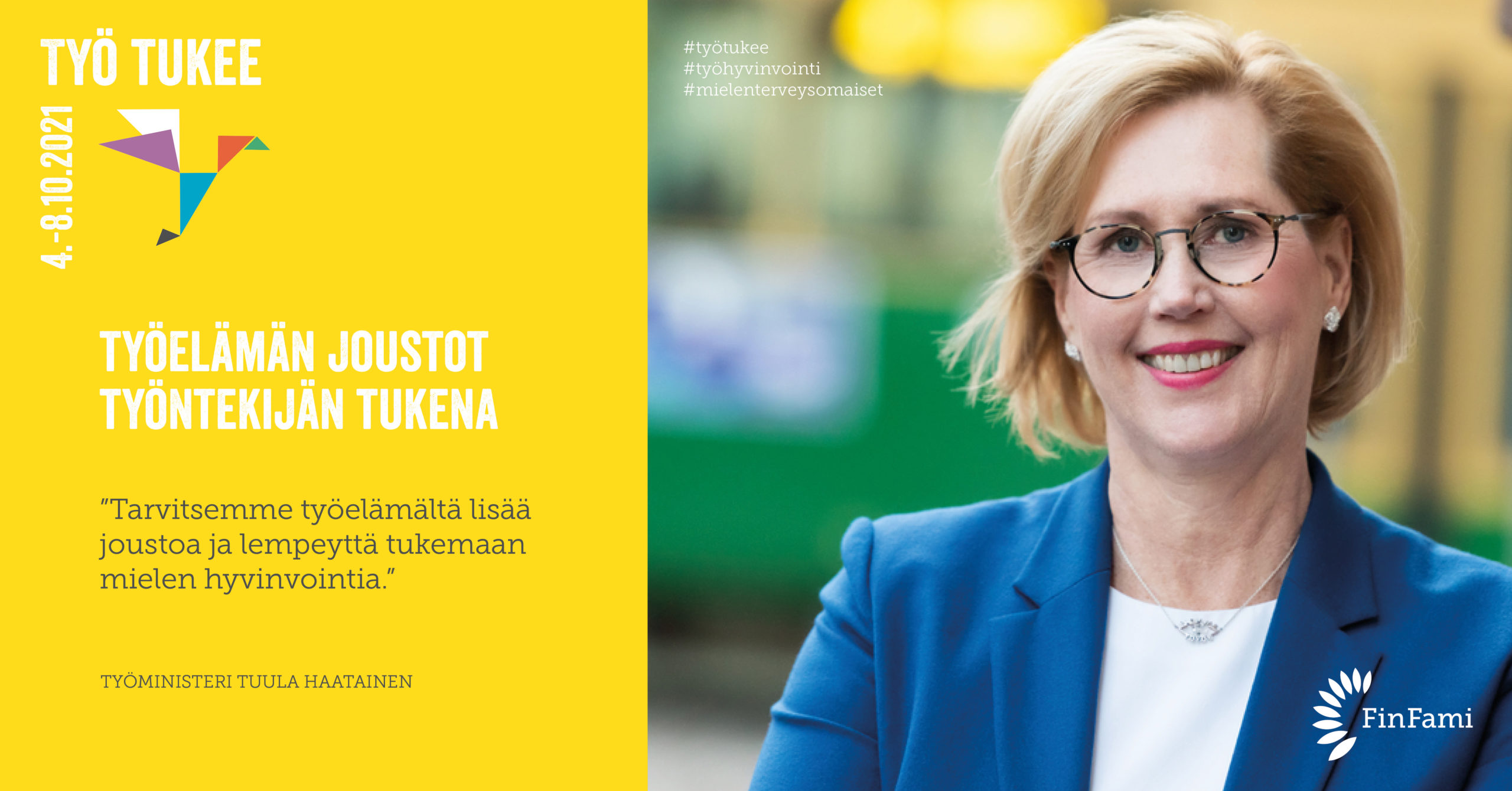 FinFamin Työ tukee -kampanjakuva Mielenterveystaitojen vahvistaminen työelämässä
