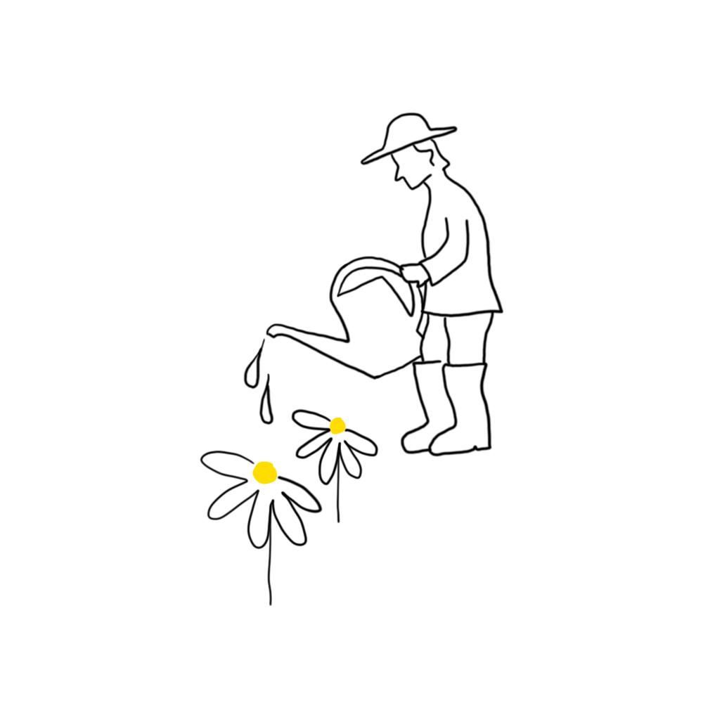 Piirroskuva mieshahmosta kastelemassa kukkia.