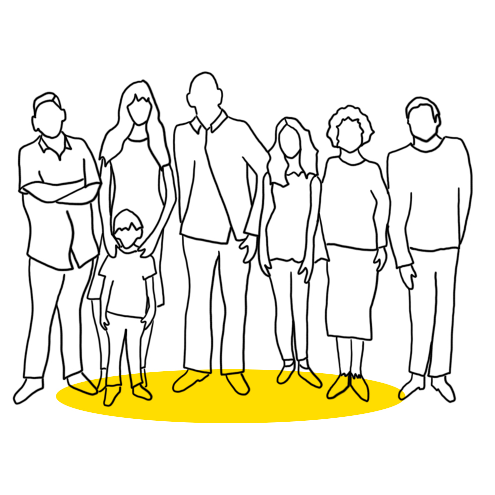 Piirroskuva eri ikäisistä ihmishahmoista rinnakkain.