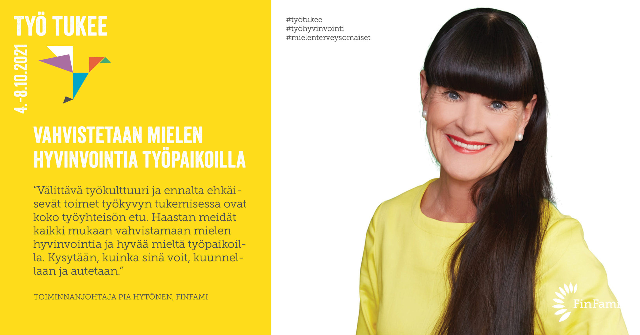 FinFamin Työ tukee -kampanjakuva FinFamin toiminnanjohtaja Pia Hytönen_kuva Mikko Mäntyniemi