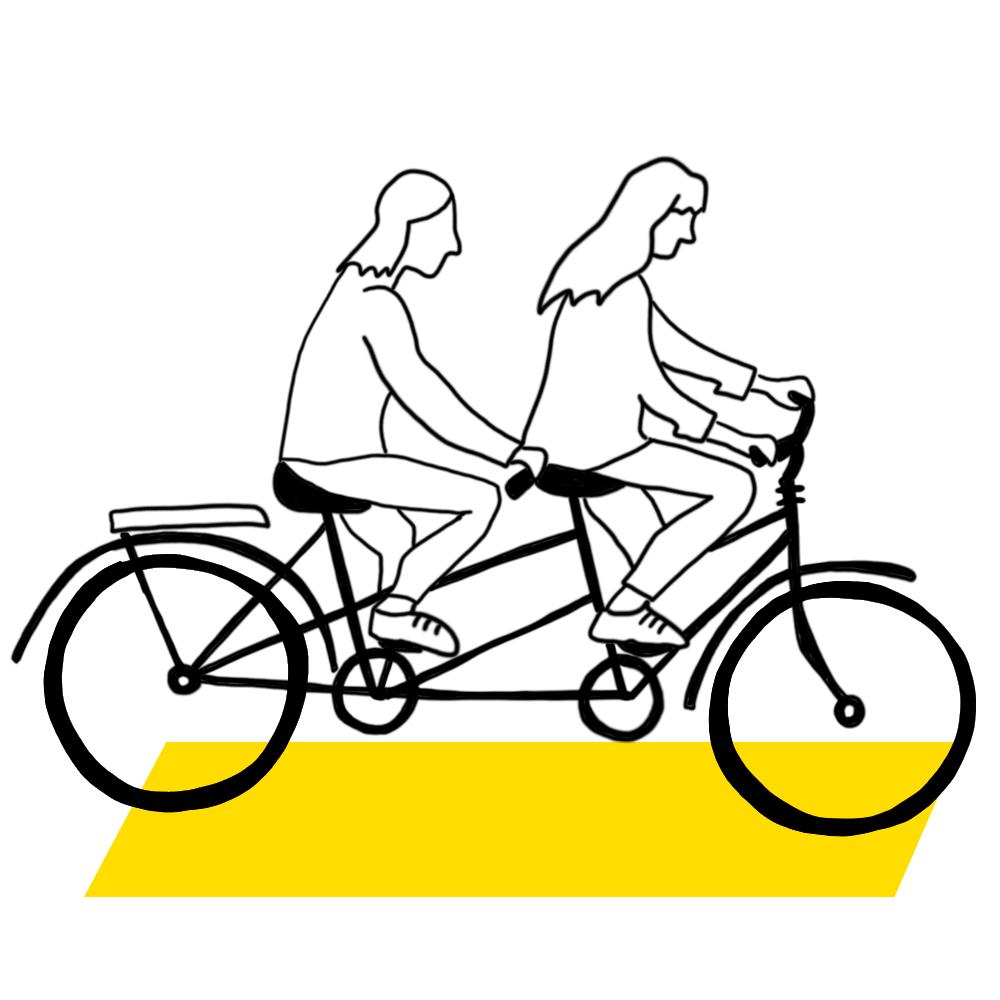 Kaksi piirroshahmoa ajaa tandempyörällä.