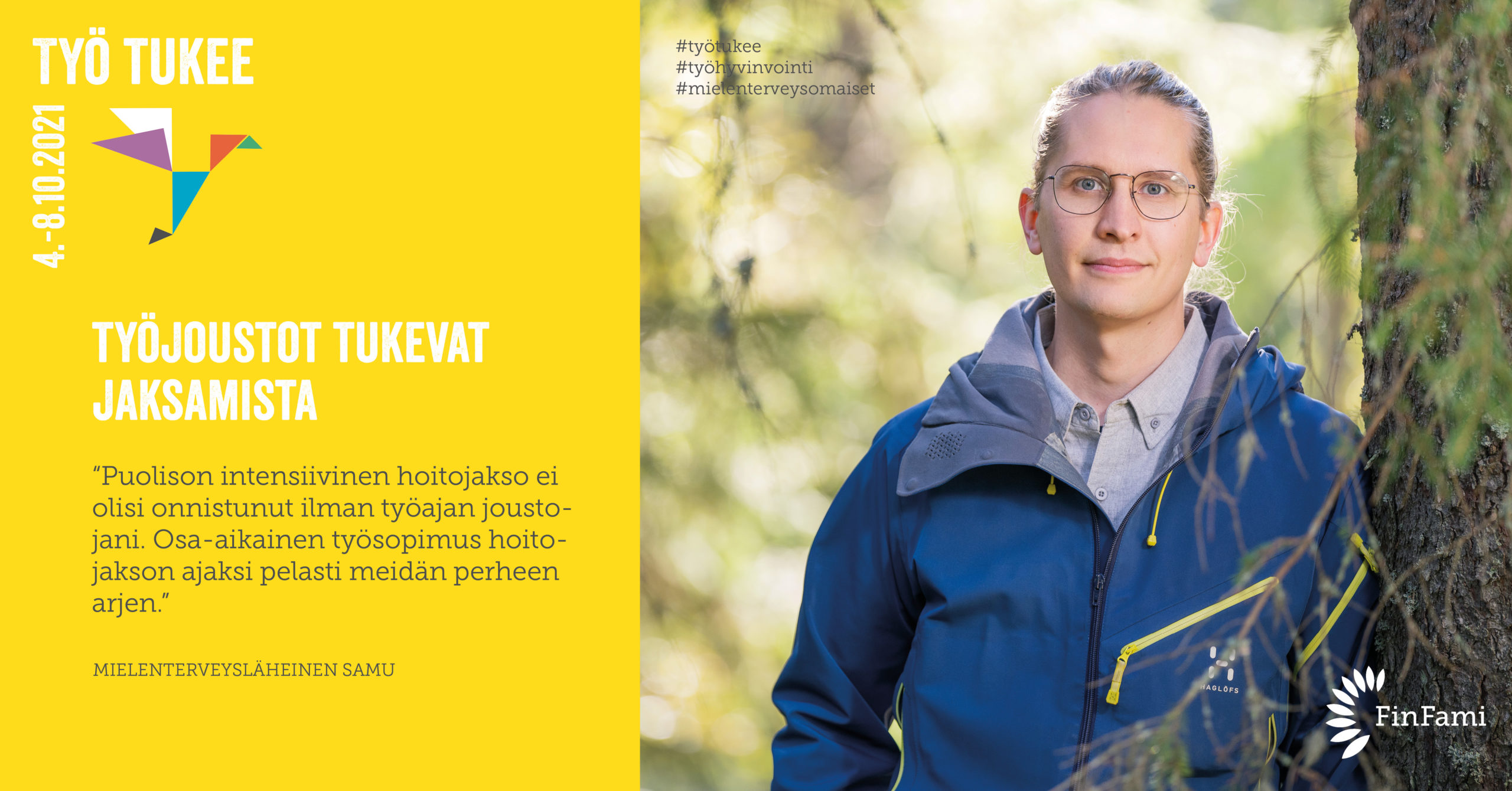 FinFamin Työ tukee -kampanjakuva työjoustojen tärkeydestä_mies seisoo puuhun nojaten_kuva Petra Tiihonen